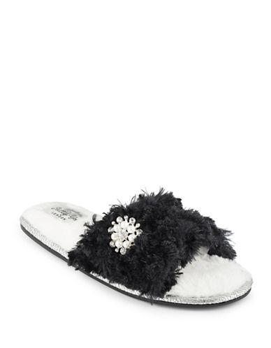 Pretty You London Harpo Faux Fur Strap Slippers-BLACK-Large