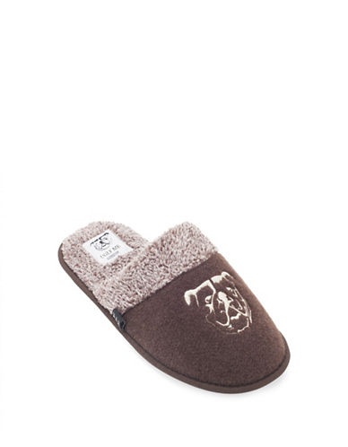 Ugly Me Brand Jasper Open Back Mule Slippers-BROWN-Large