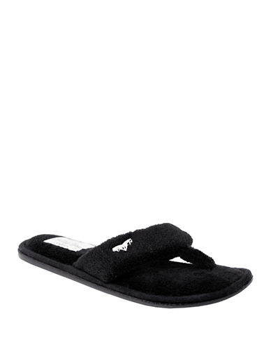 Pretty You London Mary Plush Thong Slippers-BLACK-Medium