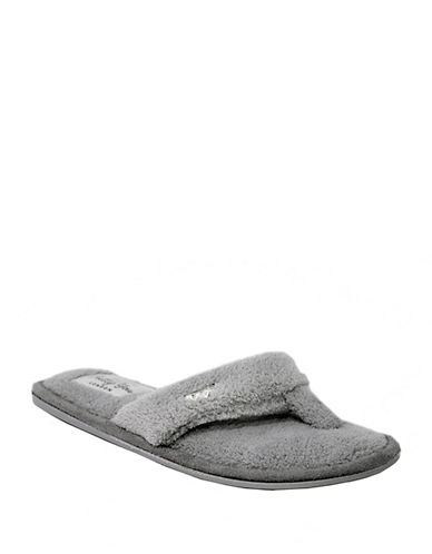 Pretty You London Mary Plush Thong Slippers-GREY-Medium