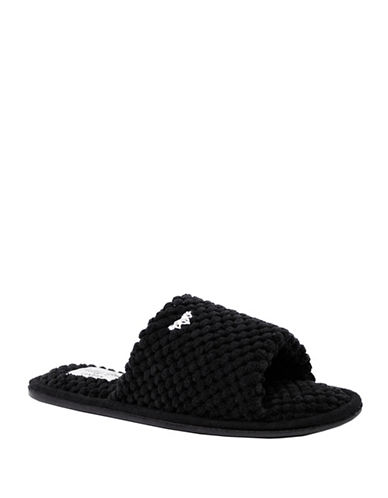 Pretty You London Carrie Plush Slippers-BLACK-Medium