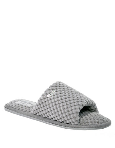 Pretty You London Carrie Plush Slippers-GREY-Medium