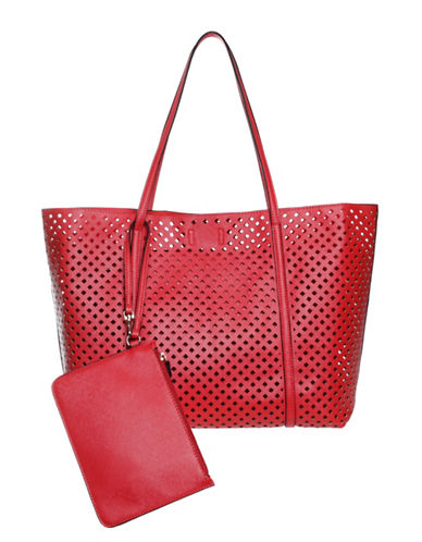 Hush Puppies Brody Perforated Tote-RED-One Size