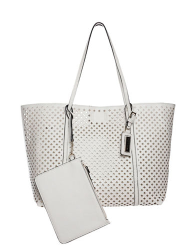 Hush Puppies Brody Perforated Tote-WHITE-One Size