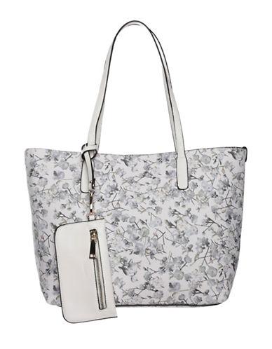 La Diva Autumn Floral Printed Tote Bag-WHITE-One Size