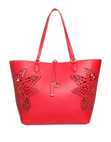 La Diva Nichole Perforated Butterfly Tote Bag-RED-One Size
