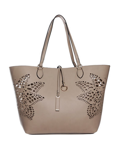 La Diva Nichole Perforated Butterfly Tote Bag-SAND-One Size
