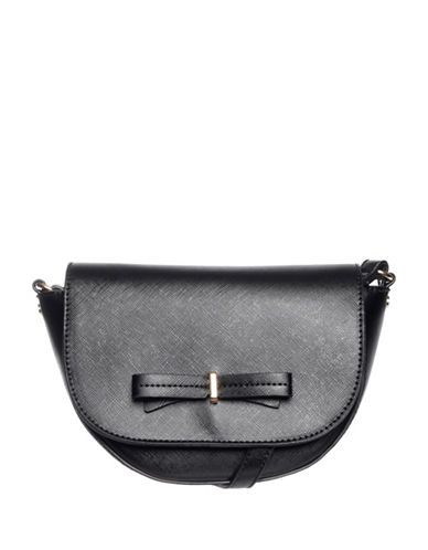 La Diva Brazil Bow Crossbody Saddle Bag-BLACK-One Size