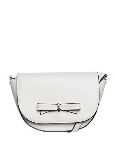 La Diva Brazil Bow Crossbody Saddle Bag-WHITE-One Size