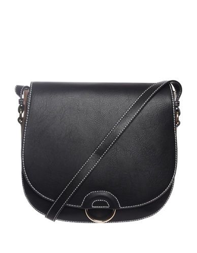 Hush Puppies Mae Saddle Bag-BLACK-One Size
