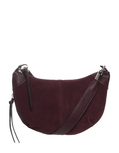 La Diva Suede Crossbody Saddle Bag-BORDEAUX-One Size
