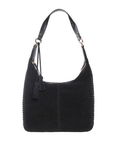 La Diva Suede Hobo Bag-BLACK SUEDE-One Size