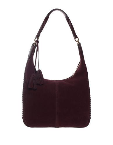 La Diva Suede Hobo Bag-BORDEAUX-One Size