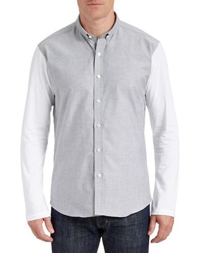 Bespoken Contrast Shortpoint Dress Shirt-GREY-X-Large
