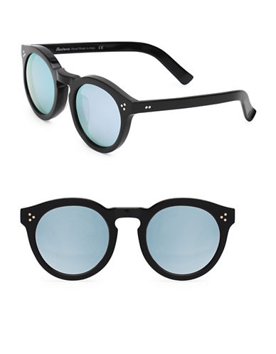 Illesteva Leonard 47mm Black And Silver Oxford Sunglasses-BLACK/SILVER-One Size