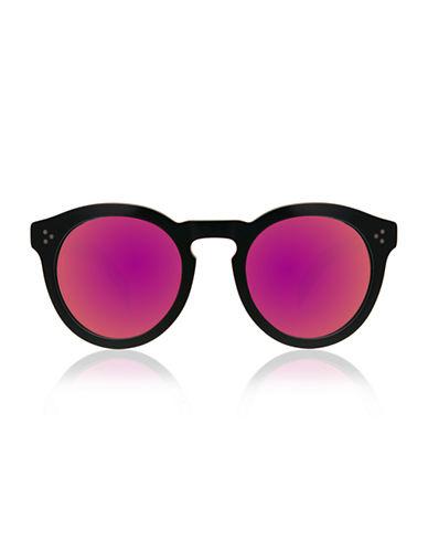 Illesteva Leonard 2 Round Sunglasses-BLACK WITH PINK MIRRORED LENSES-One Size