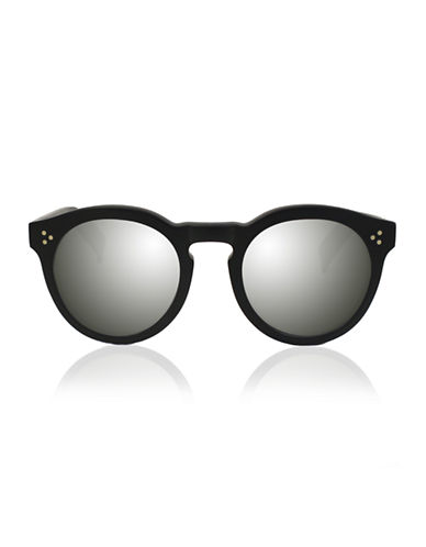 Illesteva Leonard 2 Round Sunglasses-MATTE BLACK WITH SILVER MIRRORED LENSES-One Size