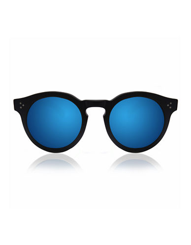 Illesteva Leonard 2 Round Sunglasses-BLACK WITH BLUE MIRRORED LENSES-One Size