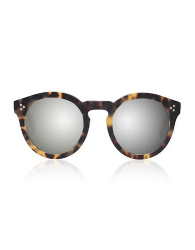 Illesteva Leonard 2 Round Sunglasses-MATTE TORTOISE WITH SILVER MIRRORED LENSES-One Size