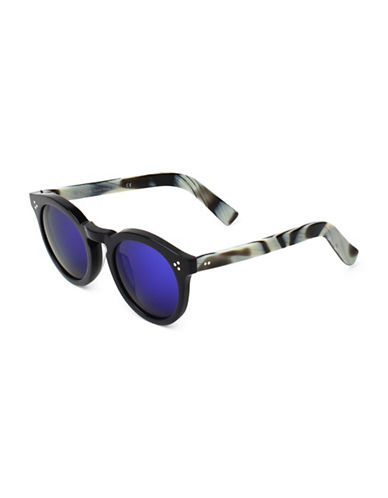 Illesteva Leonard 47mm Black Horn Oxford Sunglasses-BLACK/WHITE-One Size