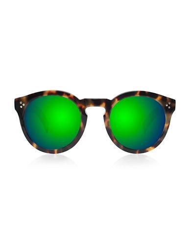 Illesteva Leonard 2 Round Sunglasses-GREEN TORTOISE-One Size