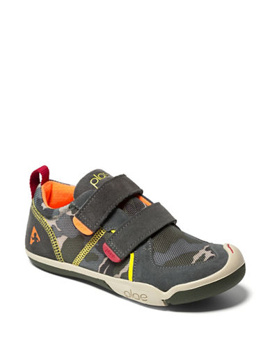 Plae Raven Camouflage-Print Suede Grip-Tape Sneakers-GREY-6