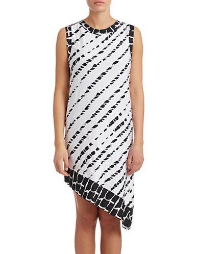 Amita Naithani Printed Asymmetrical Cover-Up Dress-WHITE-X-Small