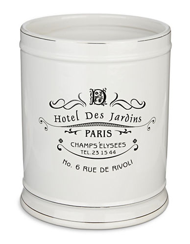 Moda Paris Ceramic Waste Basket-WHITE-One Size