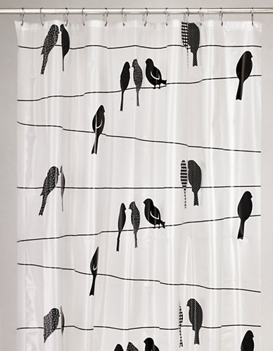 Moda Sitting Birds PEVA Shower Curtain-BLACK-One Size