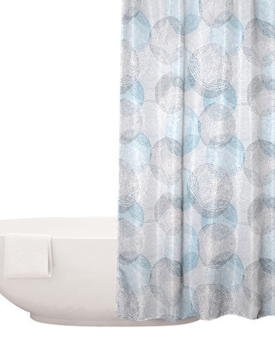 Distinctly Home Circle And Dot Printed Shower Curtain-BLUE-One Size