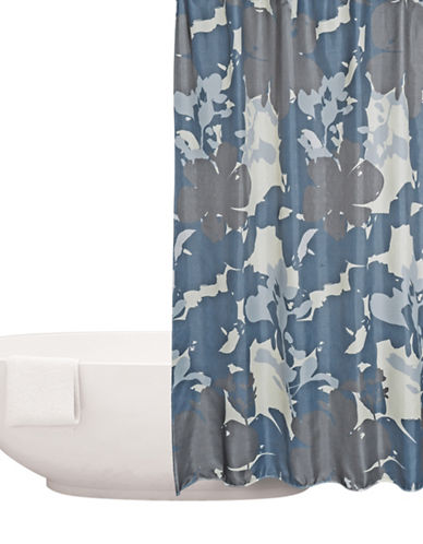 Distinctly Home Printed Shower Curtain-BLUE-One Size