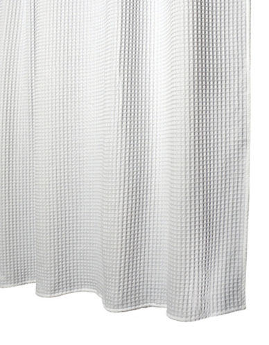 Glucksteinhome Woven Waffle Shower Curtain-WHITE-One Size