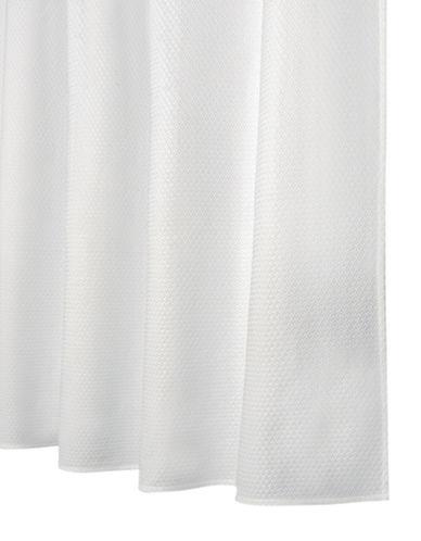 Glucksteinhome Woven Mattelasse Shower Curtain-WHITE-One Size