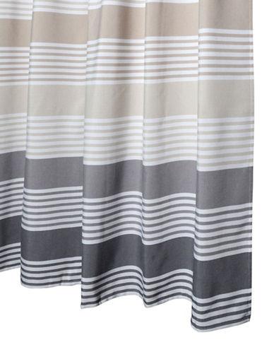 Glucksteinhome Multi Striped Shower Curtain-TAUPE-One Size