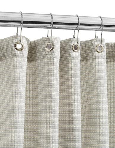 Glucksteinhome Tweed Shower Curtain-GREY-One Size