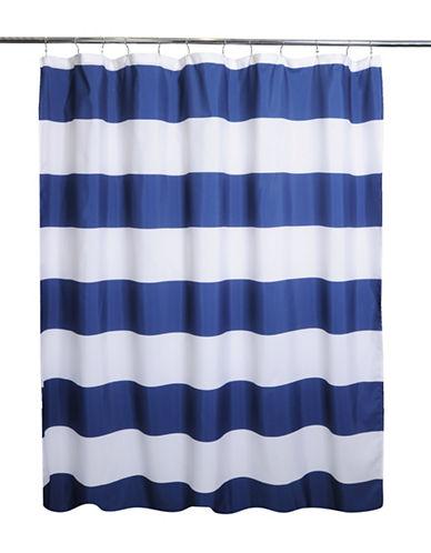 Moda Rail Stripe Shower Curtain-NAVY-One Size