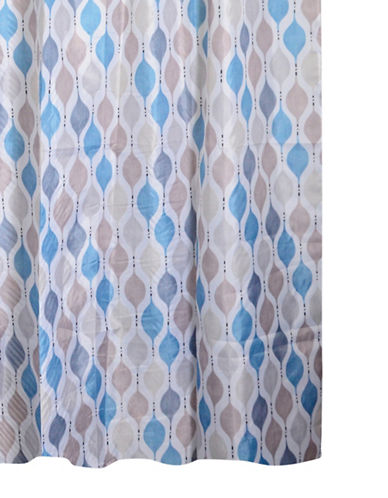 Home Studio Geo Shower Curtain-TEAL/TAUPE-One Size