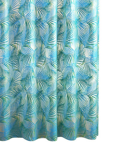 Home Studio Palm Leaves Shower Curtain-GREEN/BLUE-One Size