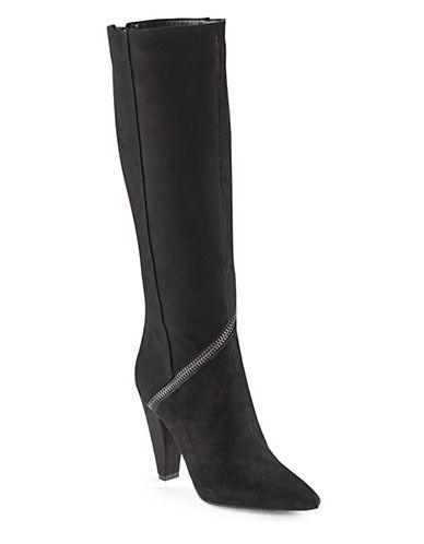 William Rast Suede Cone Heel Beth Boots-BLACK-8