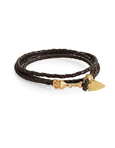 Degs And Sal Arrowhead Leather Wrap Bracelet-DARK BROWN-Medium