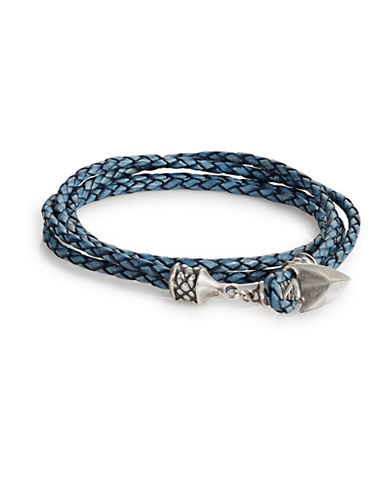 Degs And Sal Arrowhead Leather Wrap Bracelet-BLUE-Medium