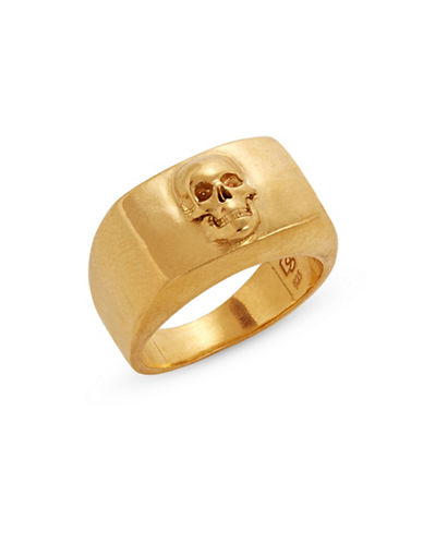 Degs And Sal Skull Flat Top Ring-GOLD-9
