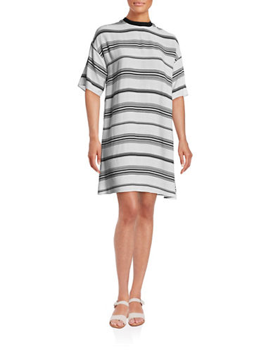 Kendall + Kylie Boxy T-Shirt Dress-WHITE MULTI-Small