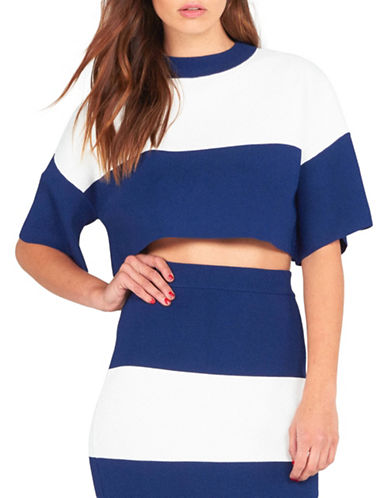 Kendall + Kylie Two-Tone Cropped Top-BLUE-X-Small 88374519_BLUE_X-Small