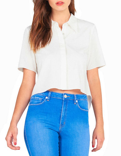 Kendall + Kylie Open Back Blouse-WHITE-Large