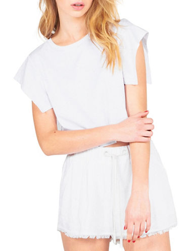 Kendall + Kylie Flutter Sleeve Tee-WHITE-Large