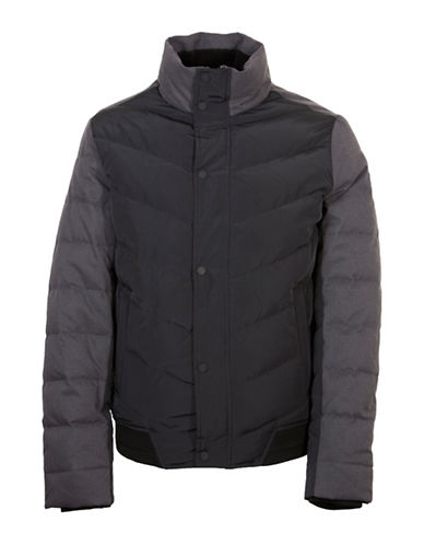 Orobos Brushed Herringbone Combo Puffer Jacket-BLACK-Large 88751525_BLACK_Large