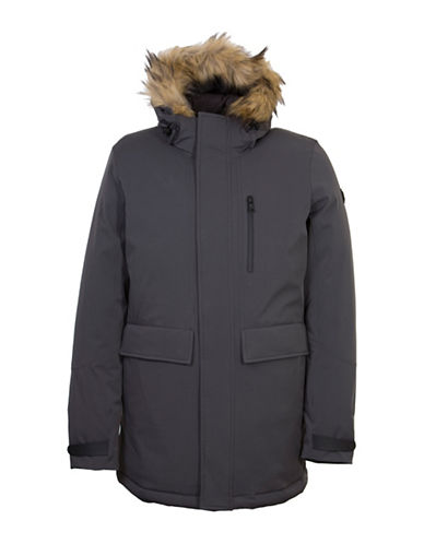 Orobos Tech Faux Fur Hood Parka-CHARCOAL-Medium