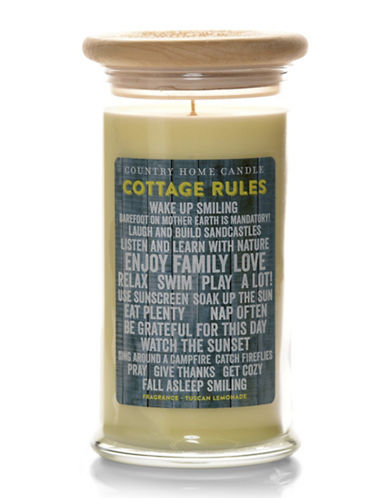 Country Home Candle Cottage Life Collection Tuscan Lemonade Candle-CREAM-One Size