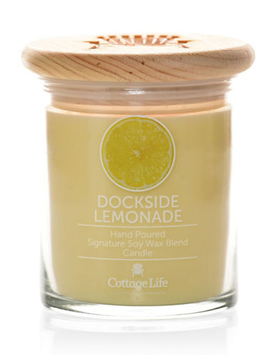 Country Home Candle Cottage Life Collection Dockside Lemonade Candle 8oz-YELLOW-One Size